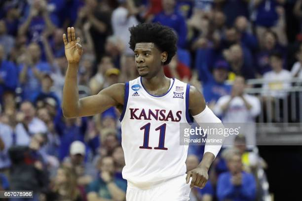 Josh Jackson of the Kansas Jayhawks reacts in the first half against the Purdue Boilermakers during the 2017 NCAA Men's Basketball Tournament Midwest...