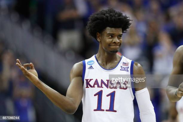 Josh Jackson of the Kansas Jayhawks reacts in the second half against the Purdue Boilermakers during the 2017 NCAA Men's Basketball Tournament...