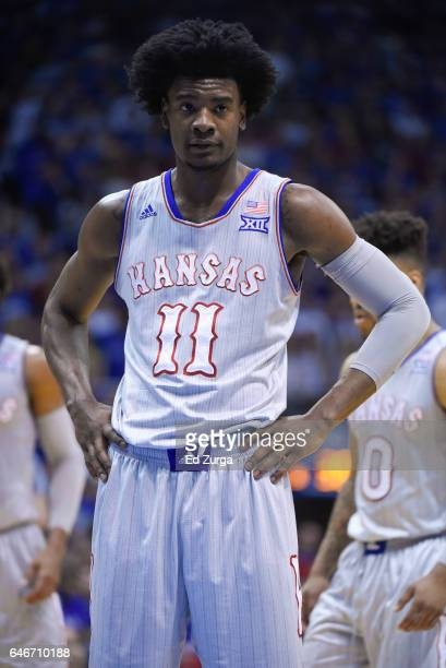 Josh Jackson of the Kansas Jayhawks shoots a free throw agains the TCU Horned Frogs at Allen Fieldhouse on February 22 2017 in Lawrence Kansas