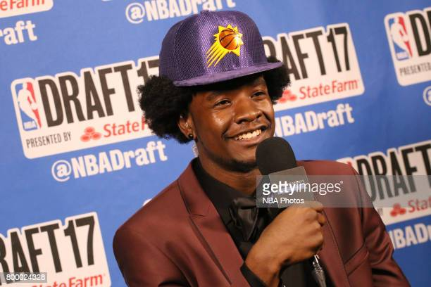 Josh Jackson speaks to the media after being selected fourth overall by the Phoenix Suns at the 2017 NBA Draft on June 22 2017 at Barclays Center in...
