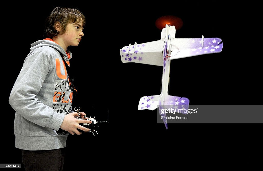 Josh James aged thirteen, the F3PC indoor aerobatic champion shows his skills at the Northern Modelling Exhibition at EventCity on March 3, 2013 in Manchester, England.