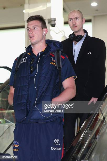 Josh Jenkins of the Crows arrives at Melbourne Airport on September 28 2017 in Melbourne Australia Adelaide will play against Richmond in Saturday's...