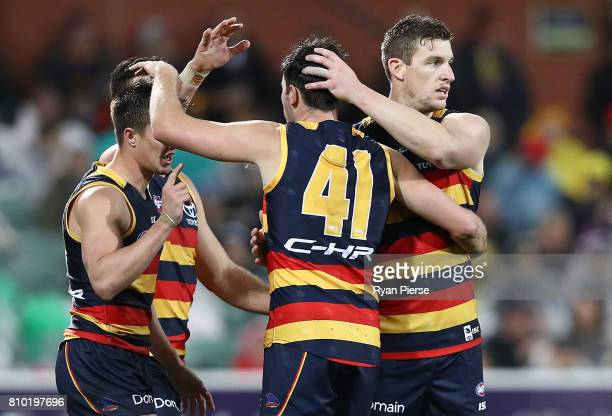 Josh Jenkins of the Crows celebrates a goal during the round 16 AFL match between the Adelaide Crows and the Western Bulldogs at Adelaide Oval on...