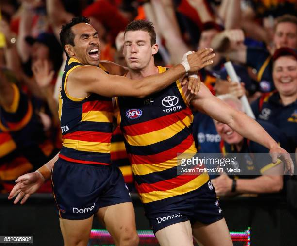 Josh Jenkins of the Crows celebrates a goal with Eddie Betts of the Crows during the 2017 AFL First Preliminary Final match between the Adelaide...