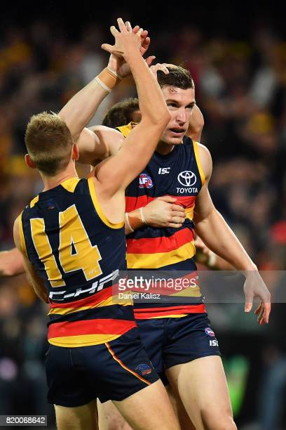 Josh Jenkins of the Crows celebrates after kicking a goal during the round 18 AFL match between the Adelaide Crows and the Geelong Cats at Adelaide...