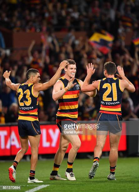 Josh Jenkins of the Crows celebrates after kicking a goal during the First AFL Preliminary Final match between the Adelaide Crows and the Geelong...