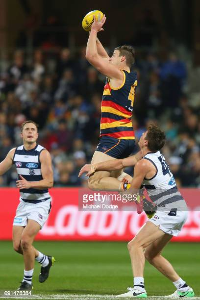 Josh Jenkins of the Crows gathers the ball against Mark Blicavs of the Cats during the round 11 AFL match between the Geelong Cats and the Adelaide...