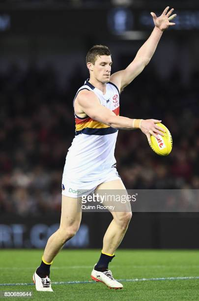 Josh Jenkins of the Crows kicks during the round 21 AFL match between the Essendon Bombers and the Adelaide Crows at Etihad Stadium on August 12 2017...