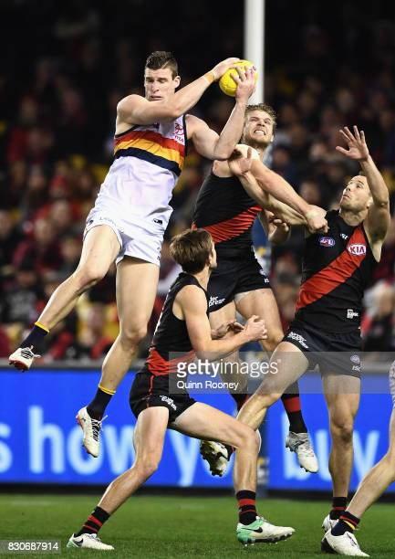 Josh Jenkins of the Crows marks during the round 21 AFL match between the Essendon Bombers and the Adelaide Crows at Etihad Stadium on August 12 2017...