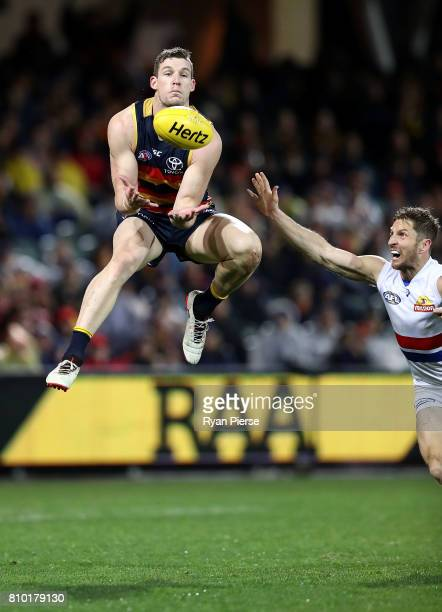Josh Jenkins of the Crows marks uring the round 16 AFL match between the Adelaide Crows and the Western Bulldogs at Adelaide Oval on July 7 2017 in...