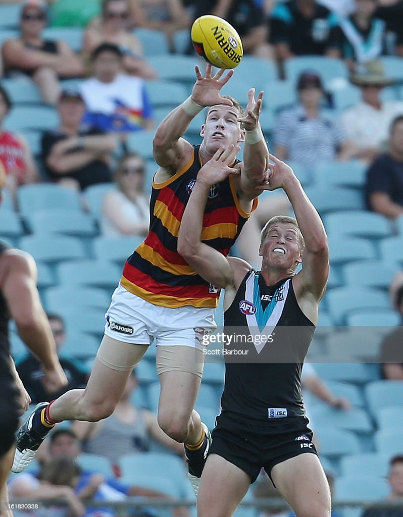 Josh Jenkins of the Crows takes a mark during the round one AFL NAB Cup match between the Adelaide Crows and the Port Adelaide Power at AAMI Stadium on February 17, 2013 in Adelaide, Australia.