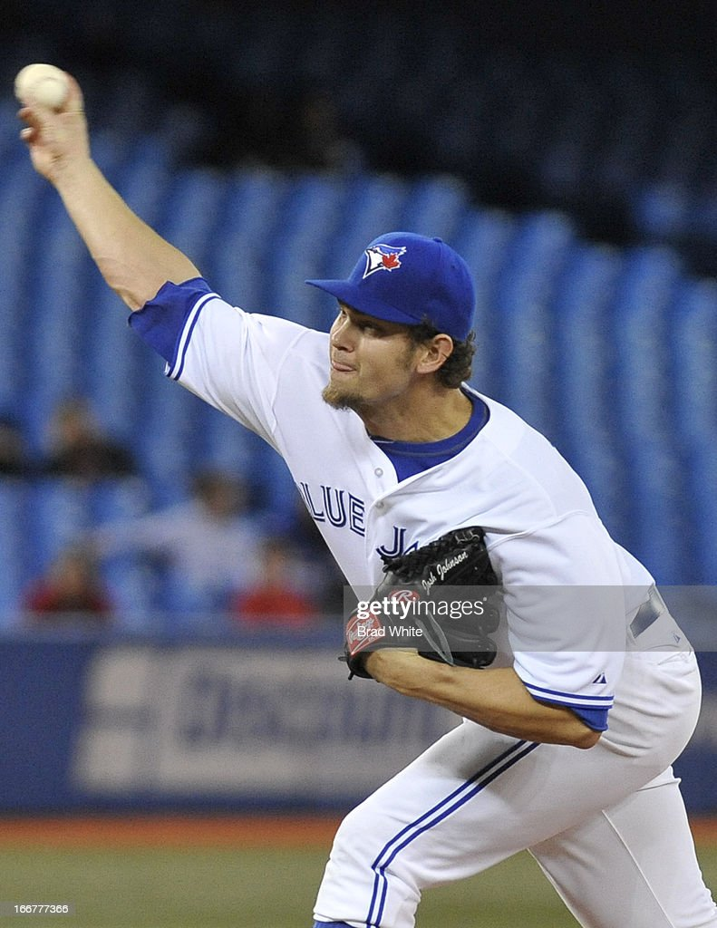 Josh Johnson #55 of the Toronto Blue Jays delivers a pitch during MLB-game action against the Chicago White Sox April 16, 2013 at Rogers Centre in Toronto, Ontario, Canada.
