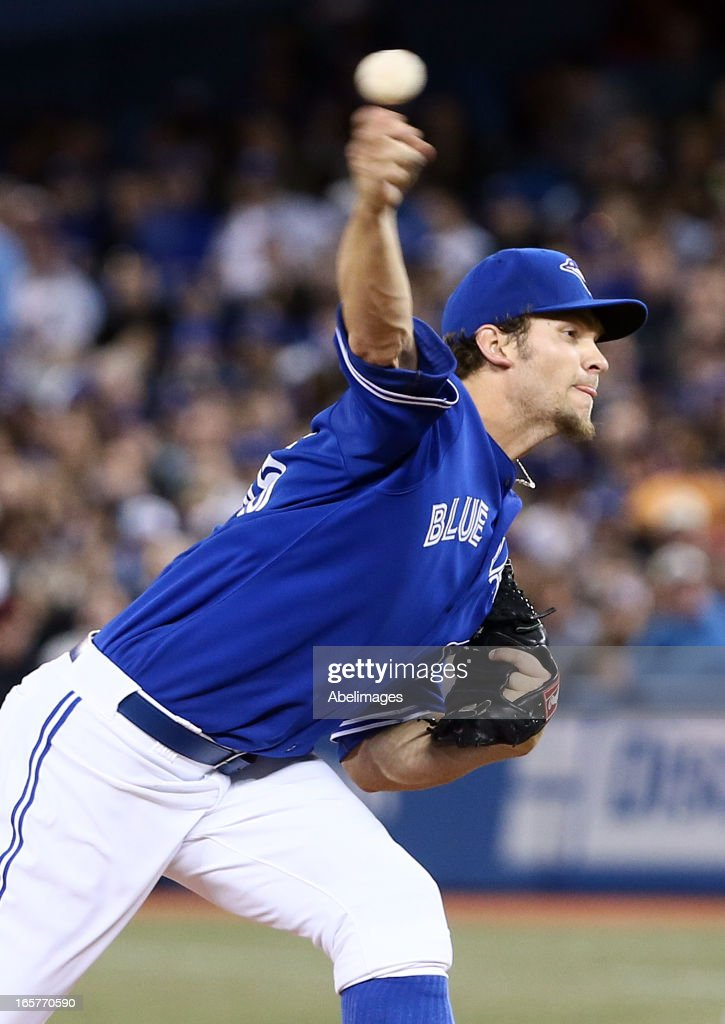 Josh Johnson #55 of the Toronto Blue Jays throws a pitch against the Boston Red Sox during MLB action at the Rogers Centre April 5, 2013 in Toronto, Ontario, Canada.
