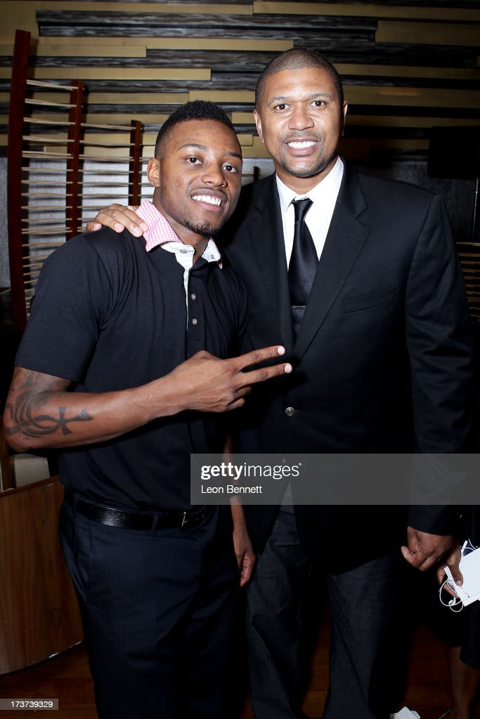 Josh Jones and Jalen Rose attended The Champions For Choice In Education ESPYs Kickoff Cocktail Party at Ritz Carlton on July 16, 2013 in Los Angeles, California.