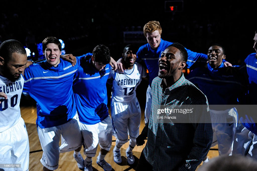Josh Jones leads the team circle before their game against the Indiana State Sycamores at the CenturyLink Center on January 5, 2013 in Omaha, Nebraska. Josh was forced to end his basketball career with Creighton due to a heart condition. Creighton defeated Indiana State 79-66.