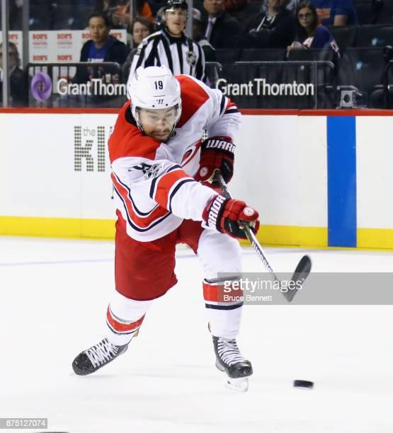 Josh Jooris of the Carolina Hurricanes skates against the New York Islanders at the Barclays Center on November 16 2017 in the Brooklyn borough of...