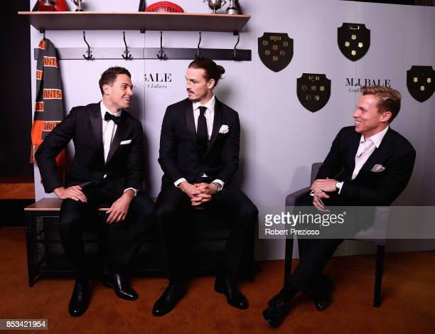 Josh Kelly and Phil Davis attend the MJ Bale Brownlow Downlow at Crown Metropole Southbank on September 25 2017 in Melbourne Australia