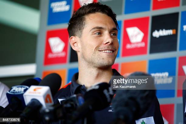Josh Kelly announces he has signed a two year contract extension with the Greater Western Sydney Giants during a Greater Western Sydney Giants AFL...
