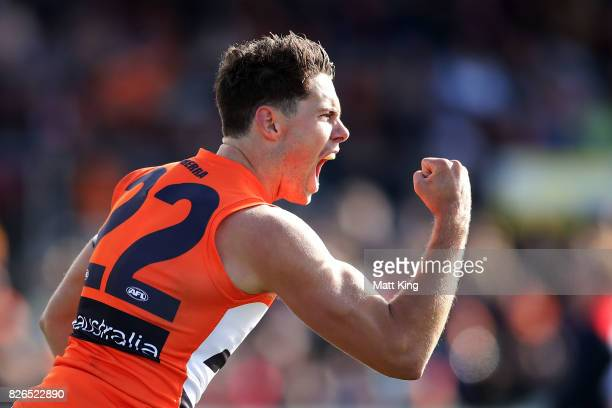 Josh Kelly of the Giants celebrates a goal during the round 20 AFL match between the Greater Western Sydney Giants and the Melbourne Demons at UNSW...