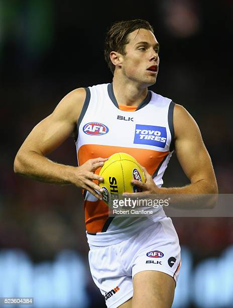 Josh Kelly of the Giants controls the ball during the round five AFL match between the St Kilda Saints and the Greater Western Sydney Giants at...
