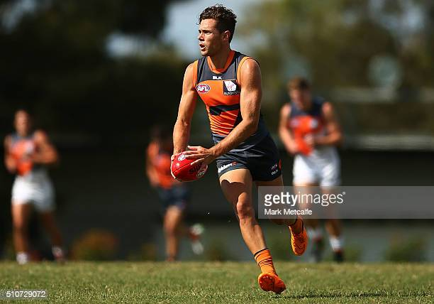 Josh Kelly of the Giants in action during the Greater Western Sydney GIants AFL IntraClub match at Tom Wills Oval on February 17 2016 in Sydney...