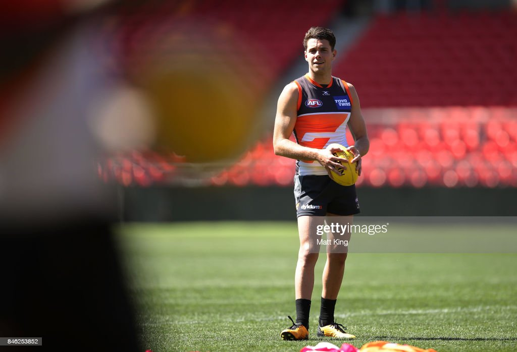 Josh Kelly of the Giants looks on during the Greater Western Sydney Giants AFL training session at Spotless Stadium on September 13, 2017 in Sydney, Australia.