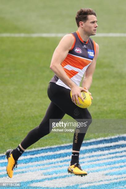 Josh Kelly of the Giants runs the ball during the Greater Western Sydney Giants AFL training session at Melbourne Cricket Ground on September 22 2017...