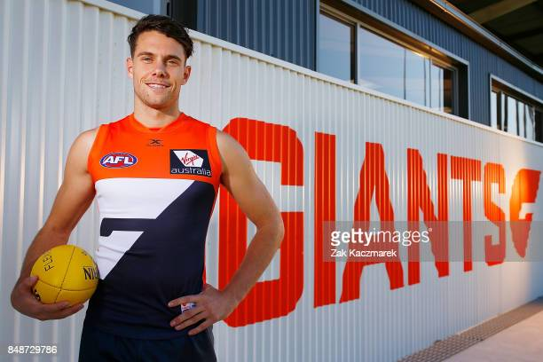 Josh Kelly poses for a portrait after announcing he has signed a two year contract extension with the Greater Western Sydney Giants during a Greater...
