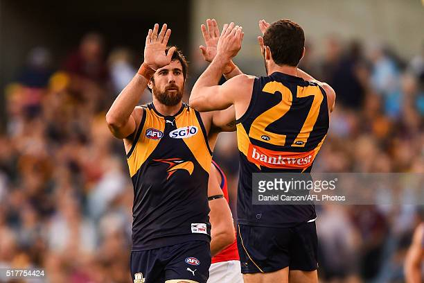 Josh Kennedy and Jack Darling of the Eagles celebrates a goal during the 2016 AFL Round 01 match between the West Coast Eagles and the Brisbane Lions...