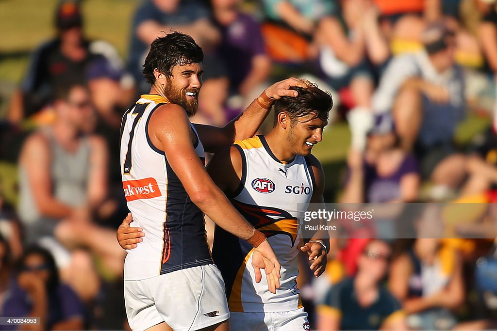Josh Kennedy and Sharrod Wellingham of the Eagles celebrate a goal during the round two NAB Challenge Cup AFL match between the Fremantle Dockers and the West Coast Eagles at Arena Joondalup on February 18, 2014 in Perth, Australia.