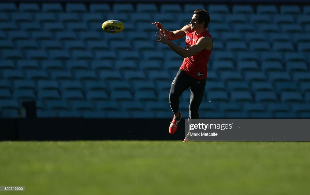 Josh Kennedy in action during a Sydney Swans AFL training session at Sydney Cricket Ground on July 26, 2017 in Sydney, Australia.