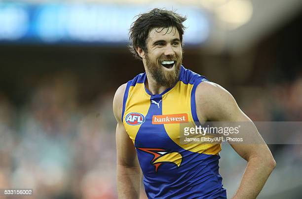 Josh Kennedy of the Eagles celebrates a goal during the 2016 AFL Round 09 match between Port Adelaide Power and the West Coast Eagles at the Adelaide...