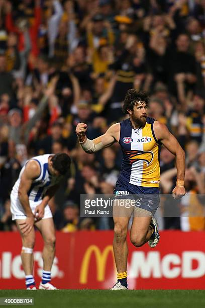 Josh Kennedy of the Eagles celebrates a goal during the AFL Second Preliminary Final match between the West Coast Eagles and the North Melbourne...
