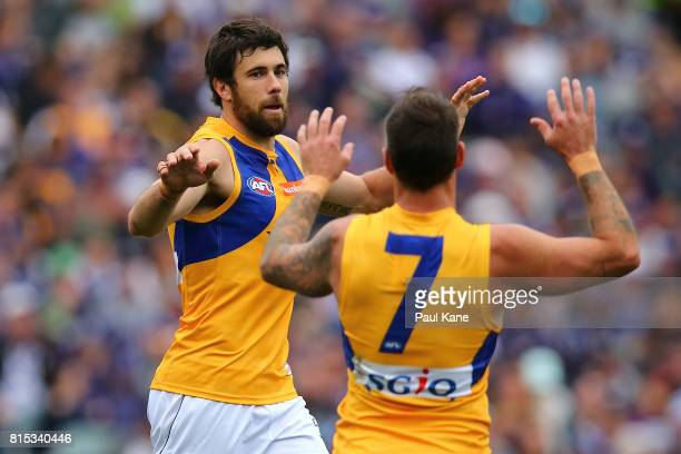 Josh Kennedy of the Eagles celebrates a goal during the round 17 AFL match between the Fremantle Dockers and the West Coast Eagles at Domain Stadium...
