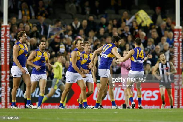 Josh Kennedy of the Eagles celebrates a goal during the round 18 AFL match between the Collingwood Magpies and the West Coast Eagles at Etihad...