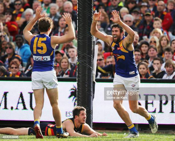 Josh Kennedy of the Eagles celebrates a goal during the round 19 AFL match between the Adelaide Crows and the West Coast Eagles at Adelaide Oval on...
