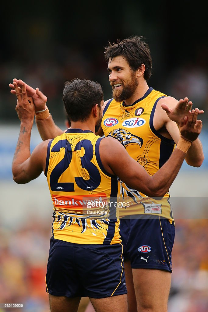 Josh Kennedy of the Eagles celebrates a goal with Lewis Jetta during the round 10 AFL match between the West Coast Eagles and the Gold Coast Suns at Domain Stadium on May 29, 2016 in Perth, Australia.
