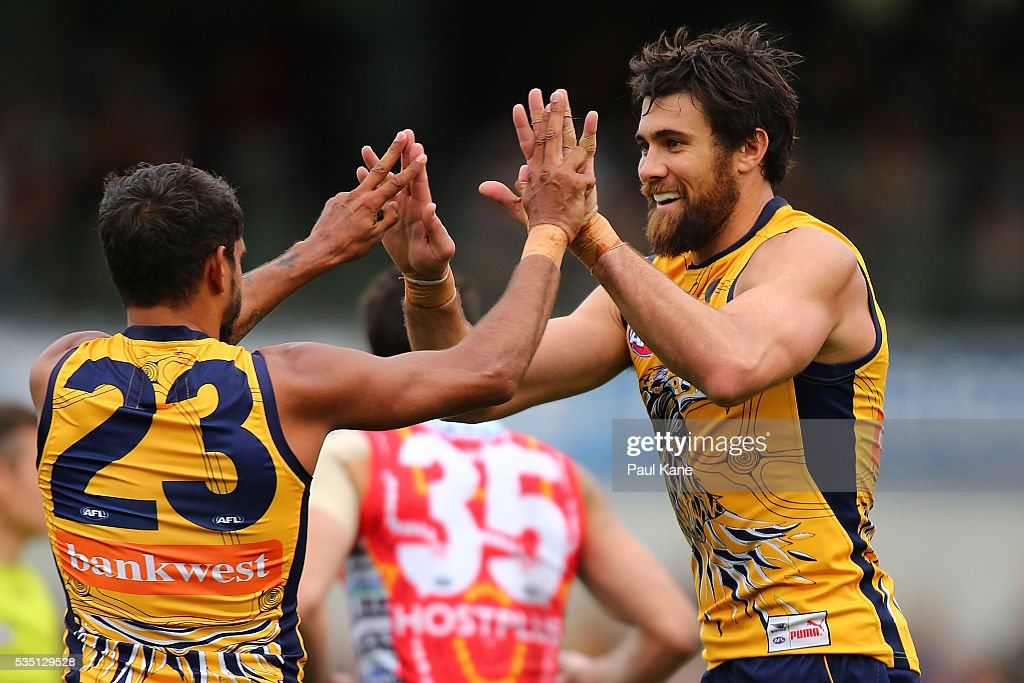 Josh Kennedy of the Eagles celebrates a goal with <a gi-track='captionPersonalityLinkClicked' href=/galleries/search?phrase=Lewis+Jetta&family=editorial&specificpeople=6544948 ng-click='$event.stopPropagation()'>Lewis Jetta</a> during the round 10 AFL match between the West Coast Eagles and the Gold Coast Suns at Domain Stadium on May 29, 2016 in Perth, Australia.