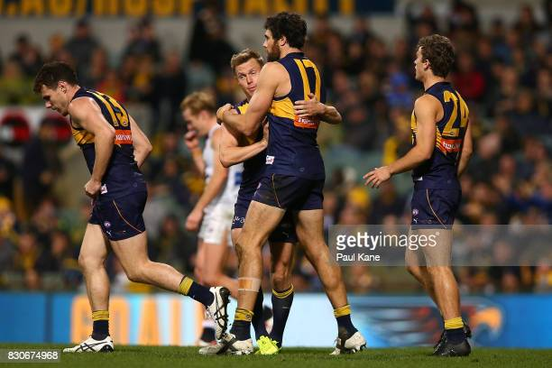 Josh Kennedy of the Eagles celebrates a goal with Sam MItchell during the round 21 AFL match between the West Coast Eagles and the Carlton Blues at...