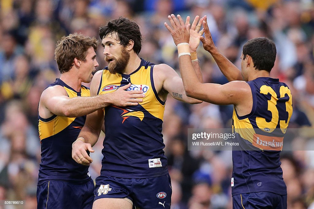 Josh Kennedy of the Eagles celebrates after scoring a goal during the round six AFL match between the West Coast Eagles and the Collingwood Magpies at Domain Stadium on May 1, 2016 in Perth, Australia.