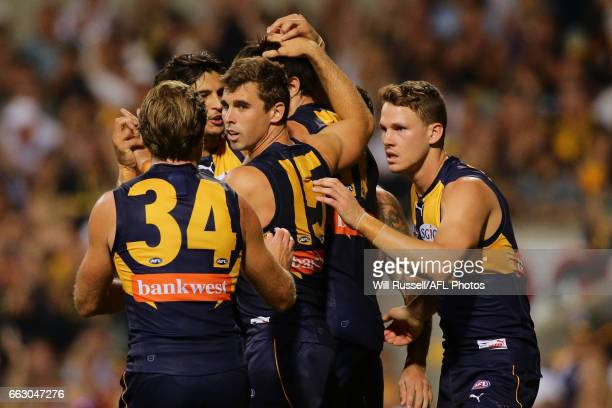 Josh Kennedy of the Eagles celebrates after scoring a goal during the round two AFL match between the West Coast Eagles and the St Kilda Saints at...