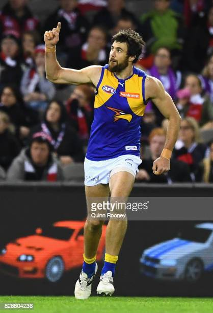 Josh Kennedy of the Eagles celebrates kicking a goal during the round 20 AFL match between the St Kilda Saints and the West Coast Eagles at Etihad...