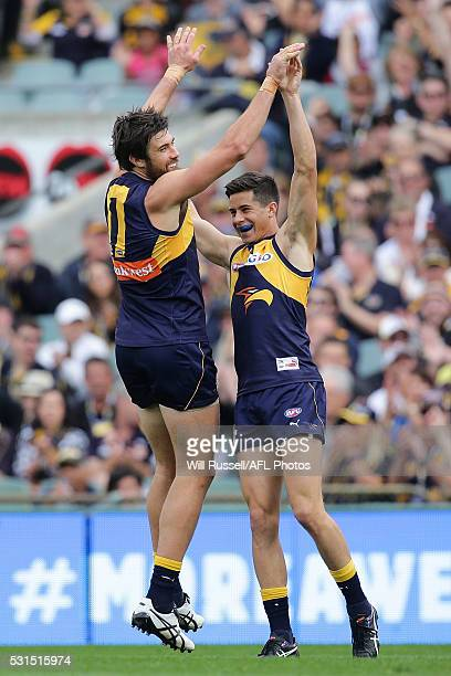 Josh Kennedy of the Eagles celebrates with team mate Liam Duggan after scoring a goal during the round eight AFL match between the West Coast Eagles...