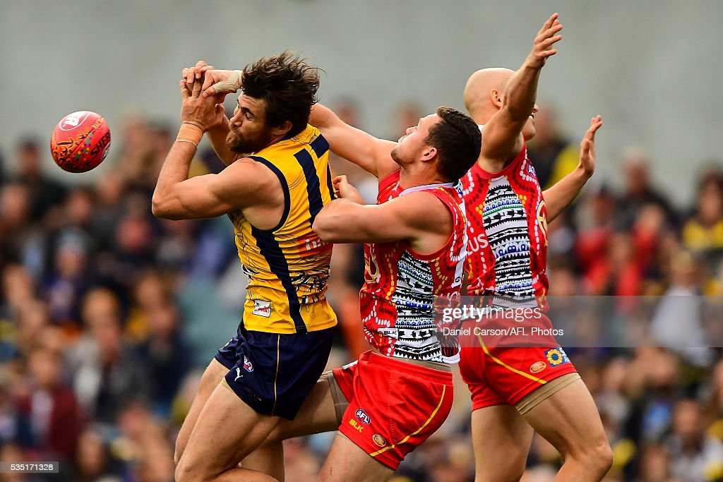Josh Kennedy of the Eagles contests a mark with Steven May of the Suns during the 2016 AFL Round 10 match between the West Coast Eagles and the Gold Coast Suns at Domain Stadium on May 29, 2016 in Perth, Australia.
