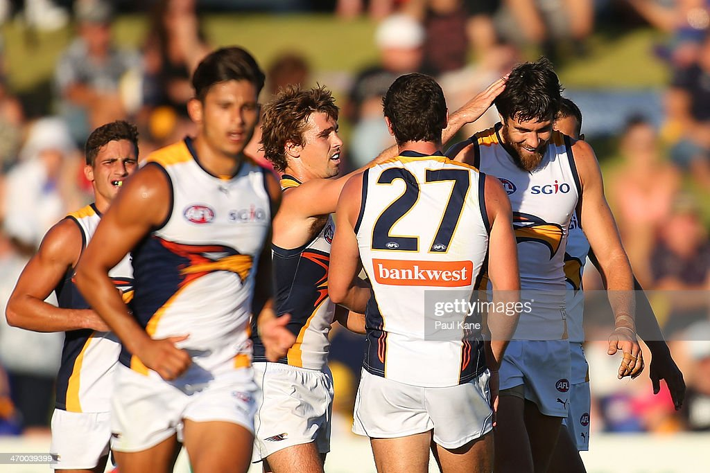 Josh Kennedy of the Eagles is congratulated after kicking a goal during the round two NAB Challenge Cup AFL match between the Fremantle Dockers and the West Coast Eagles at Arena Joondalup on February 18, 2014 in Perth, Australia.
