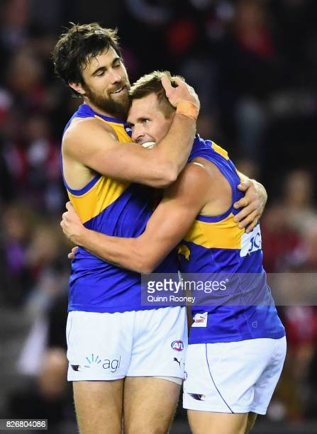 Josh Kennedy of the Eagles is congratulated by Mark LeCras after kicking a goal during the round 20 AFL match between the St Kilda Saints and the...