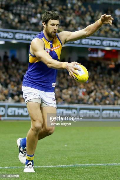 Josh Kennedy of the Eagles kicks a goal during the round 18 AFL match between the Collingwood Magpies and the West Coast Eagles at Etihad Stadium on...