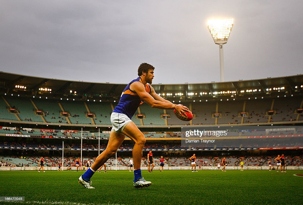 Josh Kennedy of the Eagles kicks for goal during the round three AFL match between the Melbourne Demons and the West Coast Eagles at Melbourne Cricket Ground on April 13, 2013 in Melbourne, Australia.