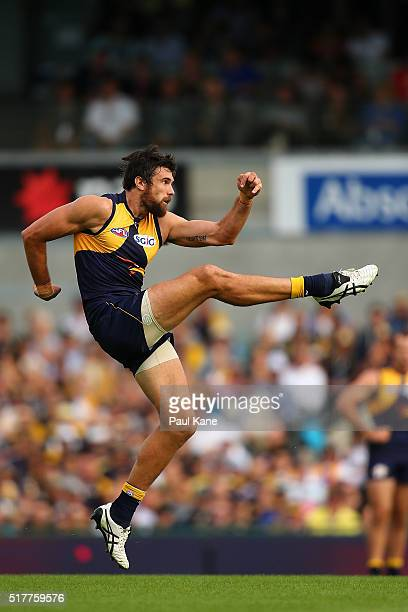 Josh Kennedy of the Eagles kicks on goal during the AFL round one match between the West Coast Eagles and the Brisbane Lions at Domain Stadium on...