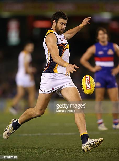 Josh Kennedy of the Eagles kicks the ball during the round 18 AFL match between the Western Bulldogs and the West Coast Eagles at Etihad Stadium on...